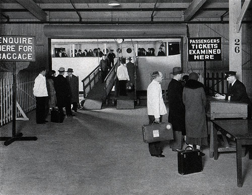 Passengers Checking in Before Embarking on a Baltimore Mail Line Steamship