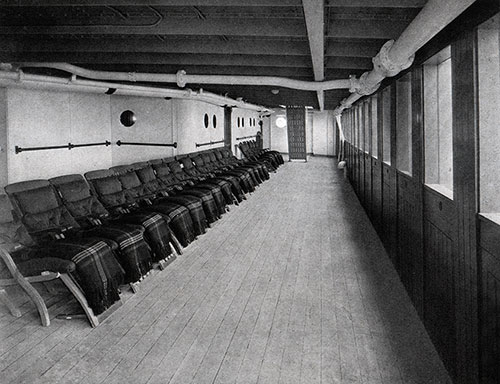 View of the Shelter Deck on a Baltimore Mail Line Steamship