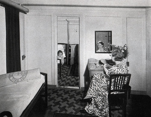Passengers Relaxing in their Stateroom en Suite. Baltimore Mail Line Steamship
