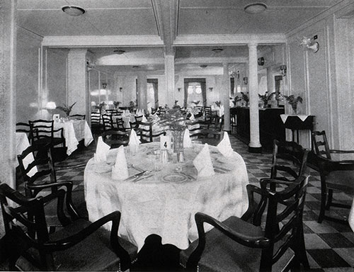 View of the Dining Saloon on a Baltimore Mail Line Steamship