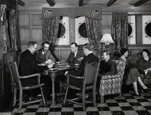 Passengers Play Cards in the Smoking Room on a Baltimore Mail Line Steamship