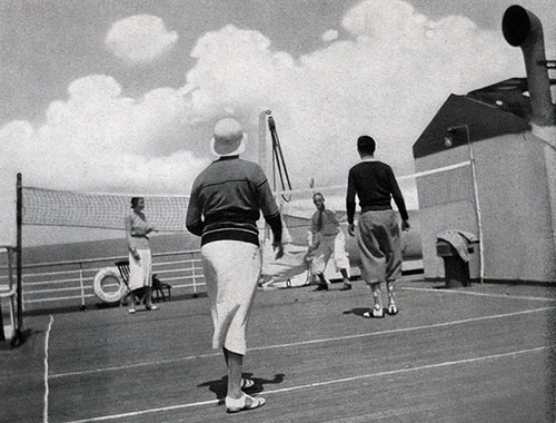 Passengers Playing Deck Tennis on a Baltimore Mail Line Steamship