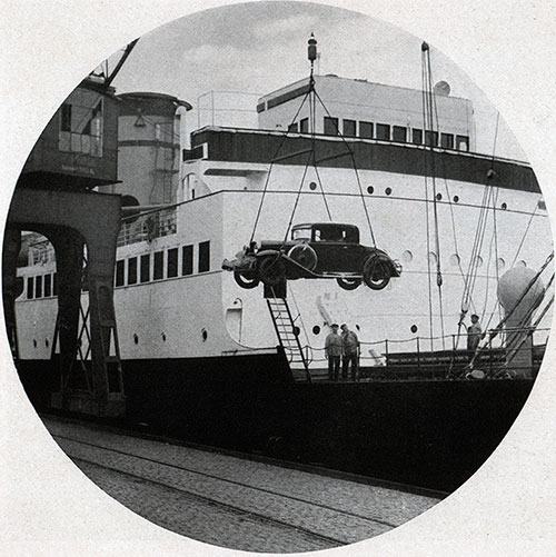 Uncrated Automobile Being Loaded onto a Baltimore Mail Line Steamship.