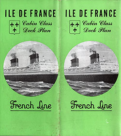 Brochure Cover, Ilde de France Cabin Class Deck Plan. Published by the CGT French Line February 1951.