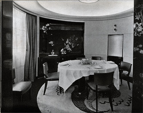 "The dining room. A Luxury Apartment with Terrace: ""TROU VILLE"" (LELEU, decorator)."