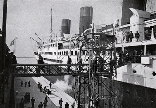 "The Steamship ""France"" of the Compagnie Generale Transatlantique has its first departure for New York (20 April 1912)."