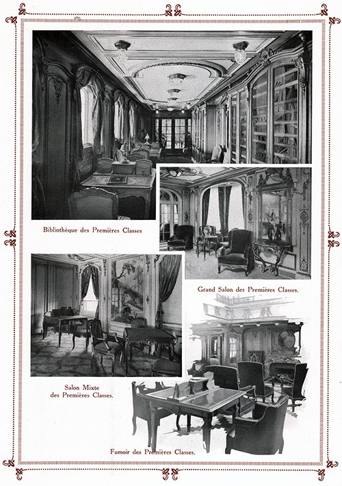 Collage of First Class Accommodation of the Steamship France (1912).
