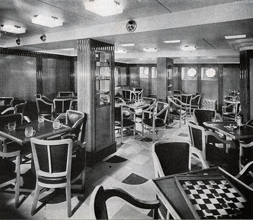 Passengers Relax, Smoke, Sip, Chat and Play Games in the Smoking Room. SS Champlain.
