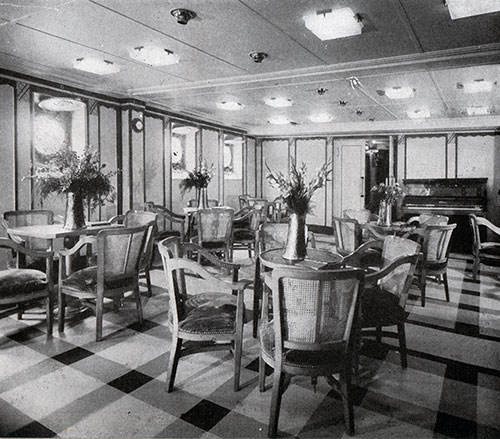 The Third Class Lounge on the SS Lafayette is Light and Comfortable.