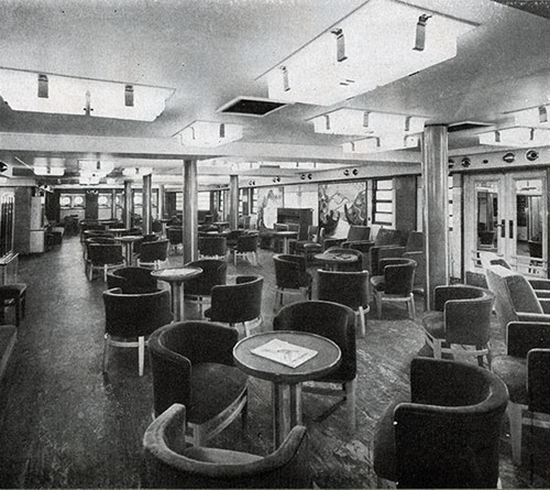 The Ever-Popular Salon on the SS Normandie With Its Bright Paintings and Broad Vista Toward the Sea.