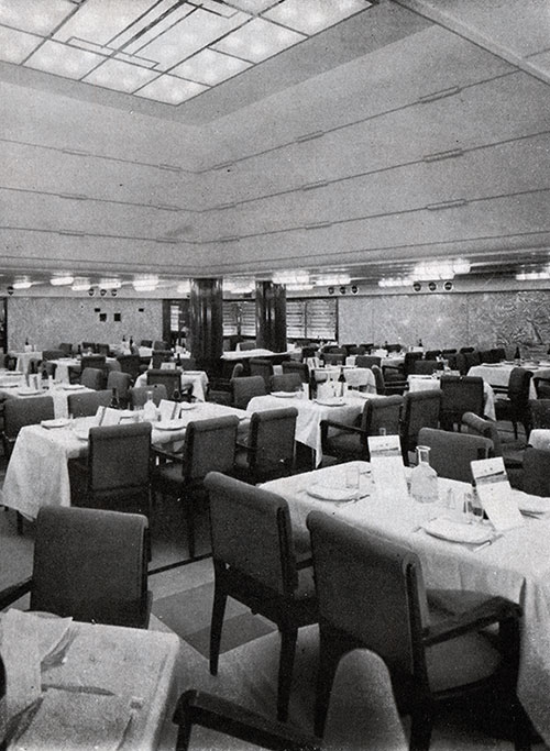 The Third Class Dining Room on the SS Normandie is Decorated in Marble and Warmly Lighted by Luminous Dome.