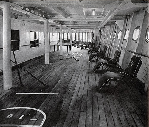 The Deck of the Normandie Third Class Lends Itself to Games and Repose