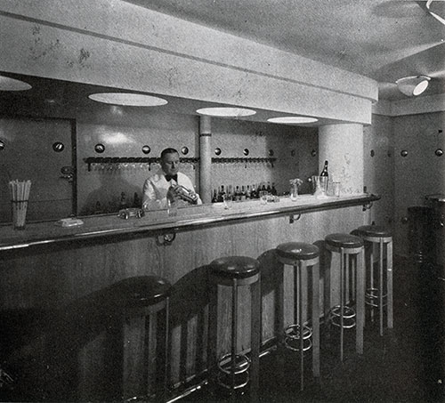 The Smart Modern Bar of the Normandie Third Class has a Jolly, Companionable Atmosphere.