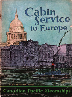 Front Cover, Cabin Service To Europe - 1927