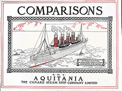 Front Cover, Comparisons - RMS Aquitania of the Cunard Steam Ship Company, Limited.