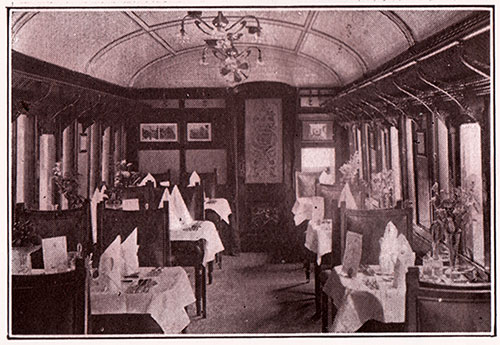 Interior View of Restaurant Car