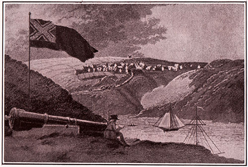 Fishguard Harbour in 1797 (from the old print in the Cardiff Library)