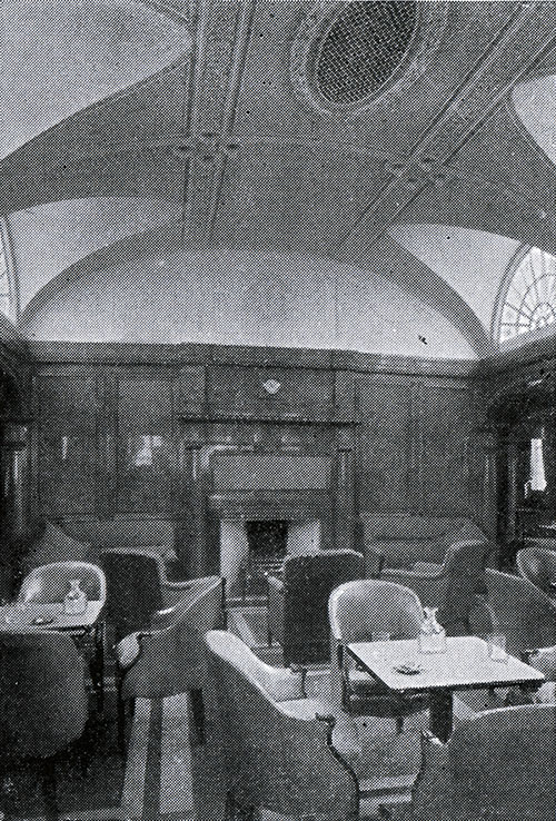 First Class Smoking Room Showing Fireplace