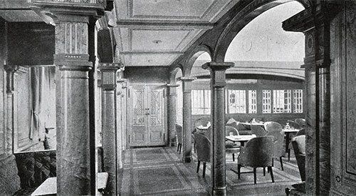 Smoking Room in First Class Showing Eliptical Bay Window