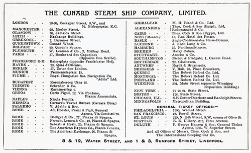 Cunard Line Agents and Agencies