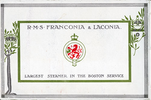 Back Cover RMS Franconia and RMS Laconia of the Cunard Line.