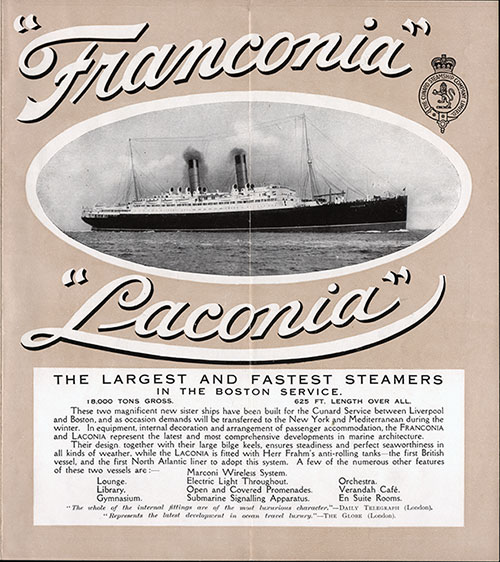 Front of Franconia and Laconia - The Largest and Fastest Steamers in the Boston Service Flyer from 1911