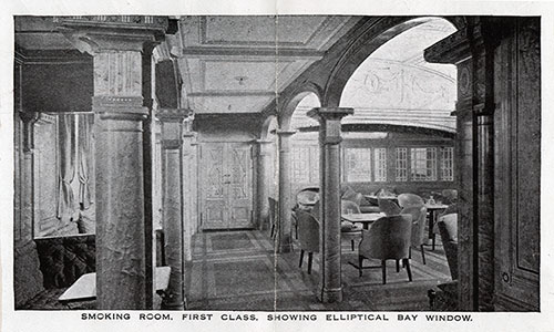 First Class Smoking Room Showing Elliptical Bay Window