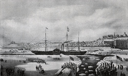 The Cunard Steamer SS Britania in Boston Harbor 3 February 1844.
