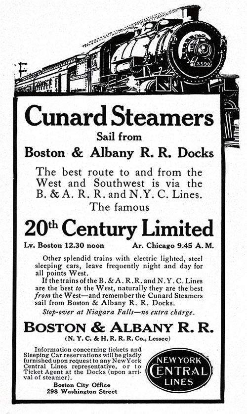Advertisement for Boston & Albany RR / New York Central Lines.