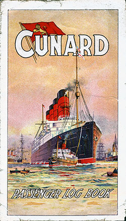 Front Cover, Cunard Passenger Log Book circa 1913