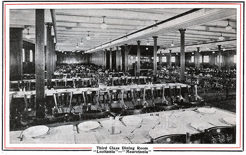 Third Class Dining Room on the Lusitania and Mauretania