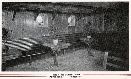 Third Class Ladies' Room on the Franconia and Laconia