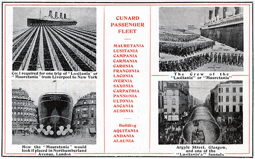 Cunard Passenger Fleet with Comparisons Showing Relative Size of Ships