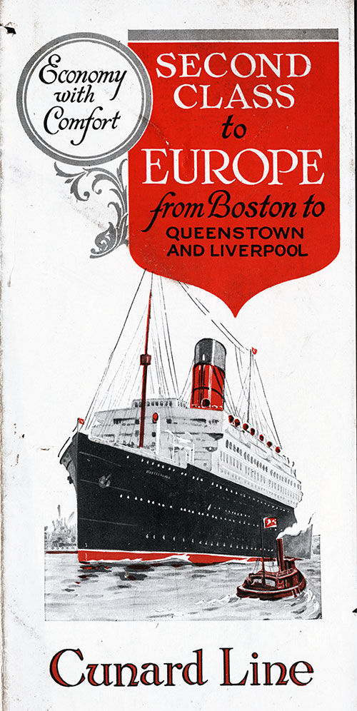 Front Cover, Second Class to Europe fromn Boston to Queenstown and Liverpool.