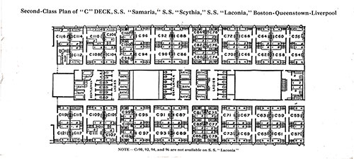 "Second Class Plan of ""C"" Deck, SS Samaria, SS Scythia, and SS Laconia in the Boston-Queenstown-Liverpool Route."