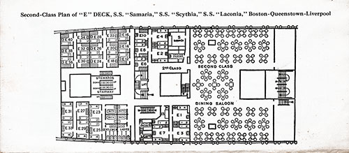 "Second Class Plan of ""E"" Deck for the SS Samaria, SS Scythia, and SS Laconia"