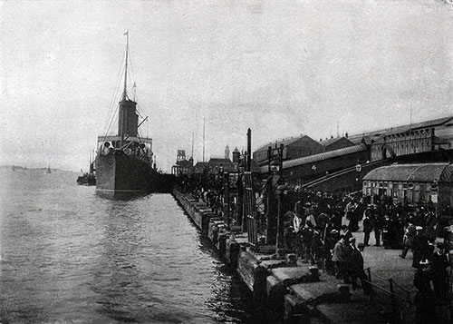 The Landing Stage and Riverside Railway Station at Liverpool, with a Cunard Liner Lying Alongside.