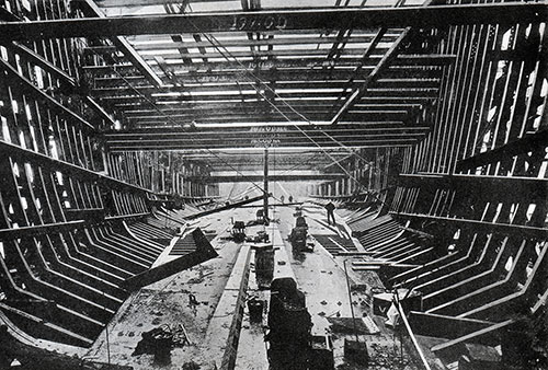 The Building of the Cunard Steamship Campania.  The Vessel's Skeleton Framework is Shown.