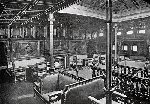 The First Class Smoking Room of the Cunard Steamship Campania As It Appeared Previous to Refurbishing.