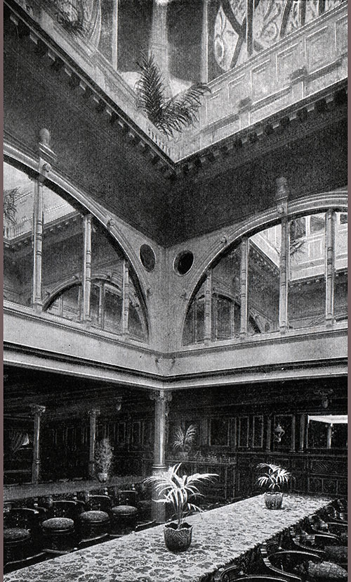 The Grand Dining Saloon of the Steamers Ivernia and the Saxonia Showing Interior of the Dome.