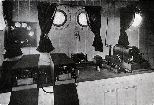 The Marconi System of Wireless Telegraphy: Instrument Room on Board a Cunarder.