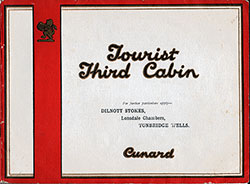 Front Cover, Cunard Tourist Third Cabin Accommodations Brochure. Undated, Circa Late 1920s