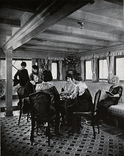 Women Relaxing in the Ladies' Lounge with an Afternoon on the Veranda at Mah Jongg or Bridge.