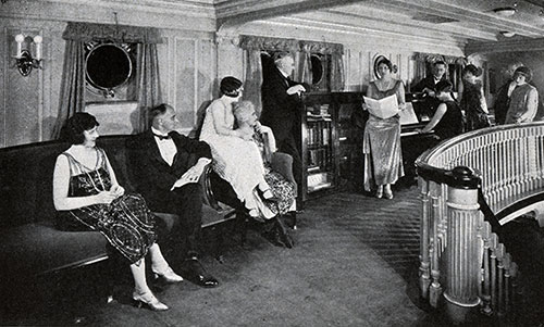 Passengers Enjoy an Informal Evening in the Music Room.