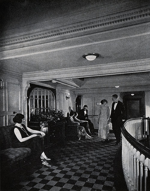 Socializing with Fellow Passengers in the Social Hall.