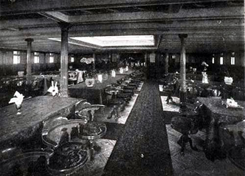 First Cabin Dining Saloon (Looking Aft), SS New England. Seating Accommodation for 160 Passengers.