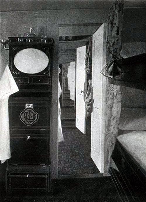 First Cabin Outside Staterooms (En Suite), Upper Deck, SS New England.