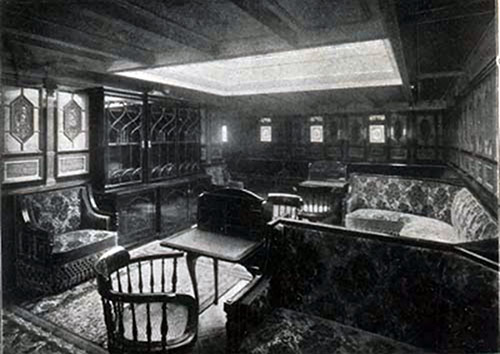 First Cabin Library on the SS New England.