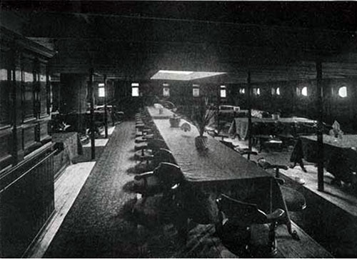 Second Cabin Dining Saloon, SS New England Seating Accommodation for 100 Passengers.