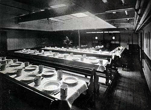 Third Class Dining Room (Looking Forward), SS New England.